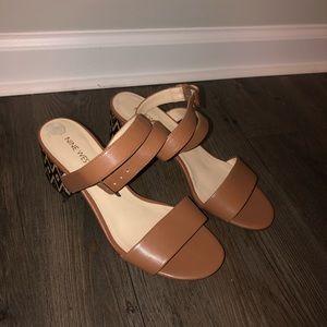 Nine West Gondola Aztec Block Sandal Heel Sz 8.5